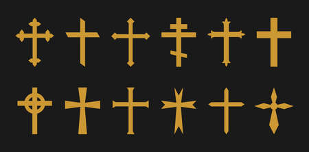 Gold cross. Christian, catholic, greek crosses. Icons of crucifix in gothic style. Symbol of church, jesus and holy faith. Religious gold silhouette on black background. Celtic decorative set. Vector. 向量圖像