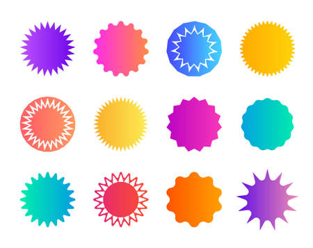Price sticker. Promo badge starburst. Shape of star for callout, label. Round icons for sale. Circles for button, tag. Zigzag edge on promotion banner. Gradient color coupon. Speech balloons. Vector.