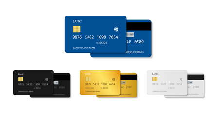 Card credit. Bank debit plastic card. Template in front with chip. Design mockup for money, payment, business. Realistic icon of blue, gold, white, black. Security pay and transaction in store. Vector