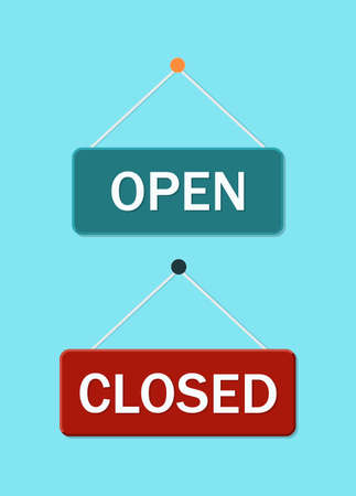 Shop notice of close and open. Hang signage on office, cafe, restaurant.  for retail. Poster of welcome to market on rope. Information window to entrance. Message in door.  for sell. Vector.