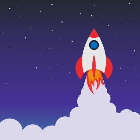 Rocket launch in space. Cartoon background with spaceship. Concept of travel in future. Success startup of business. Poster, banner and wallpaper for creative innovation. Landing with galaxy. Vector.