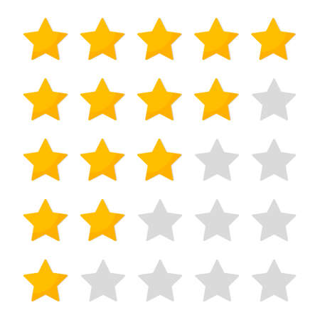 5 star of rating. Customer review. Icon of evaluate and vote. Feedback with customers. Five yellow gold stars for ranking in row. Rank of quality, product and hotel. Background for app and ui. Vector.