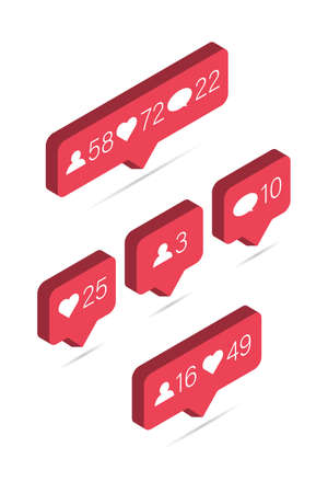 Icon of 3d like. Isometric media bubble with heart, comment and share friend. Social buttons with notification. Vectores