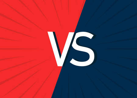 VS background. Poster of versus enemy. comparison in battle. Competition concept in sport, game, boxing. Blue-red comic banner. Superhero icon. Clash between teams. Template for book. Vector. Vettoriali
