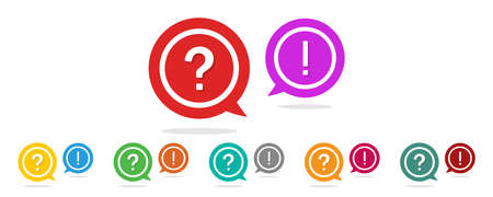 Question and exclamation mark. Icon of faq, help and support. Ask and answer symbol in circle. Sign for problem, speech, chat and debate. Background for talk and information. Advice in bubble. Vector. Vectores