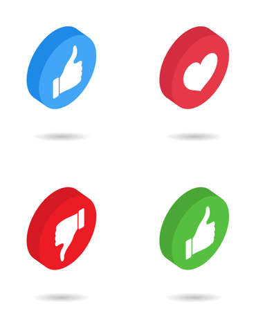 Like isometric icon. Button with heart, thumb, dislike. 3d icon for social media with love, awesome, up, positive emoticon. Symbol of hand ok, good emoji. Signs for notification, message, vote. Vector