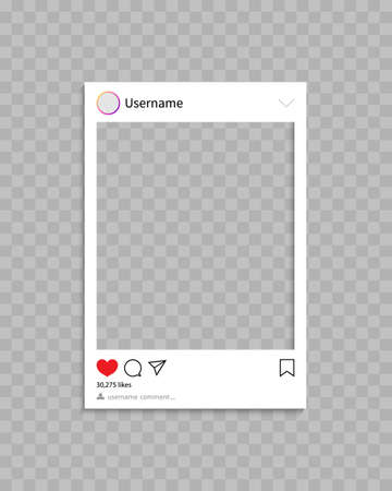 Frame for social post. Frame for photo in social media.Template of profile, post and message with interface, comment and like. Mockup and icon for phone and app. Social network concept. Vector.