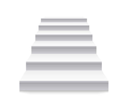 Staircase. White stair to up. Stairway before podium. 3d ladder with steps in front view. Blank interior isolated on white background. Architecture for home. Modern building of exterior. Vector.