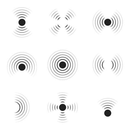 Wave sonar. Radar with signal. Icon of pulse. Concentric sound circle. High sonic frequency with vibration in air. Noise and energy from speaker. Symbol of radio, military protection and scan. Vector. Vectores