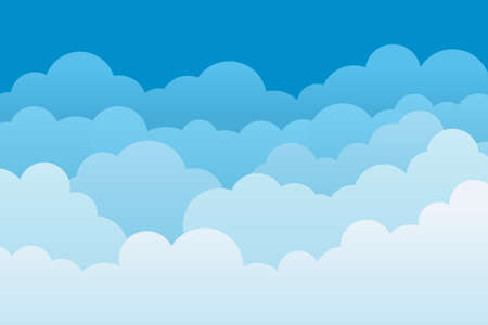 Cloud background. Sky cartoon pattern. Abstract blue heaven with layers for wallpaper. White clouds with borders. Gradient banner of nature, weather and cloudscape. Light template for backdrop. Vector Vectores