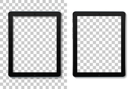 Tablet mockup with screen. Mock of ebook with touch. Ereader isolated on transparent background. Realistic black pad - pro device. Template pc with blank display for presentation of brand. Vector. Vectores