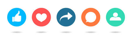 Icon of like, share, friend, comment, follow and repost. Social post button with thumb, dislike, heart and love symbols.