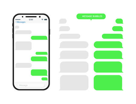Chat through bubble in phone. Chatbot in messenger. Message in whats. Sms and conversation in app on mobile screen. Interface with speech balloons, social talk. Smartphone with ui for dialog. Vector.