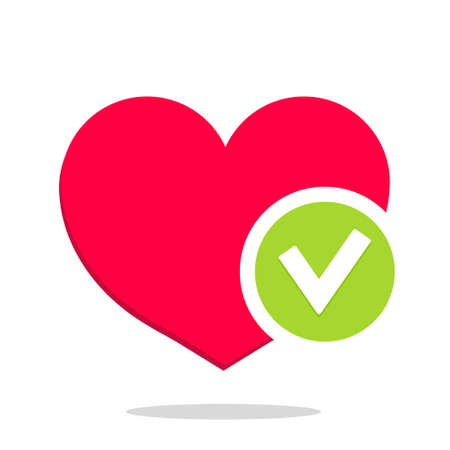 Heart with tick. Icon of health. checkmark. Positive check after test. Mark of healthy life. Choice ok. Concept of care and love. Function without risk with success. Medical agreement. Vector