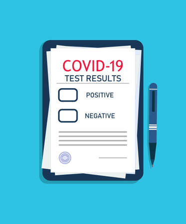 Form of covid report after diagnostic. Result test of coronavirus on medical clipboard. Insurance health from virus. Note of covid-19 on pad doctor. Checklist of clinical analysis of patient. Vector. Vectores