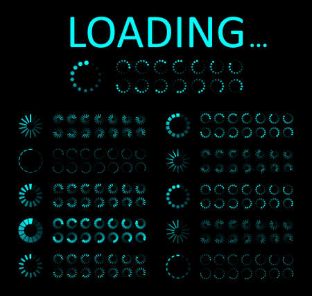 Icon of load progress. Circle for ui of loading. Bar of preloader, indicator for computer. Design interface for download from website. Wait time of loader. Round status of process of upload. Vector.