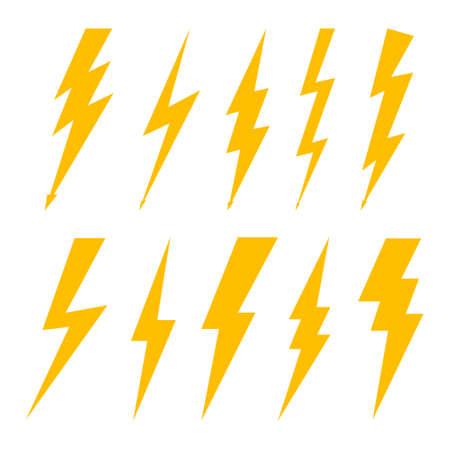 Lightning bolt. Flash of thunderbolt. Icon of thunder, thunderstorm and electric power.