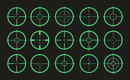 Target icon. Crosshair and aim of sniper. Sight for gun, rifle for military.  Shot from weapon in bullseye. Precise crosshair in game. Cross, dot in focus for optical. Vector Vectores