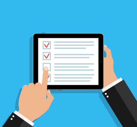 Online survey in tablet. Checklist in form of app. Feedback and questionnaire in mobile phone. Icon of check with tick. Question and choice of opinion in checkbox. Customer service on screen. Vector. Vectores