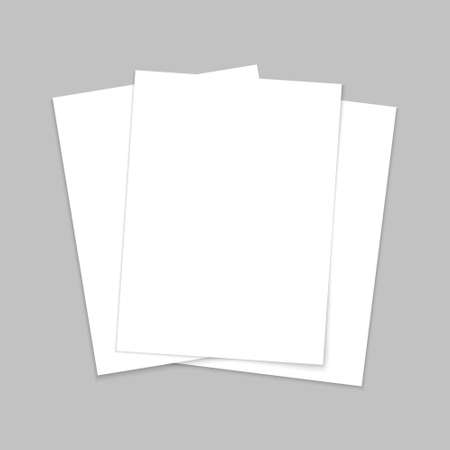 Mockup paper. Blank template of leaflet. A4 cover and flyer. Stack of white sheets. Page for brochure and postcard. Mock of document with shadow. Three letters in front for booklet and book. Vector.