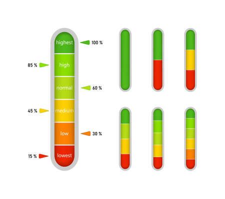 Meter bar on gauge. Level of progress on scale with indicator. High - green and low - red vertical level of measure. Percentage performance, power on graphic color ruler. Comparison of speed. Vector. Vectores