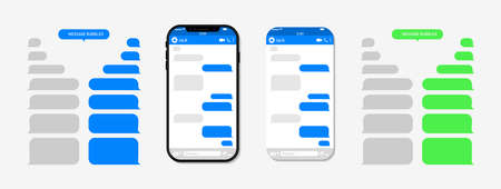 Chat with message on phone screen. Bubble for text in messenger for chatbot. Conversation with help app. Sms with social ui in cellphone. Template of balloon for talk on mobile. Speech service. Vector Vectores