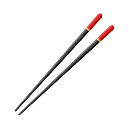 Chopstick for chinese sushi, japan hashi. Wooden black chop stick with red strip isolated on white background. Japanese, asian cuisine in restaurant. Traditional bamboo stick for fish, noodle. Vector.