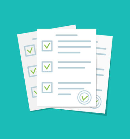 Paper document. Form for exam with checklist. Paperwork with test report. List of check questionnaire and survey. Sheets of contract with agreement and stamp. Icon for quiz. Answer in school. Vector. Vectores