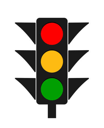 Traffic light. Icon of stoplight. Red, yellow, green signals for safety on road. Stop or go. Traffic lamps on street for warning. Sign of crosswalk for regulation. Equipment for crossroad. Vector.