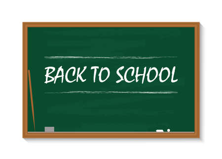 Board for school. Chalkboard in class. Green blackboard with chalk. Square with frame for teacher, kids, education. Concept of back to school. Wooden background for classroom, text, learning. Vector. Vectores