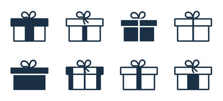 Gift icon. Box of present with bow. Outline package for birthday, christmas. Wrapped parcel with ribbon in line style for surprise. Symbol of giftbox for holiday, xmas decoration, shopping. Vector. Vectores