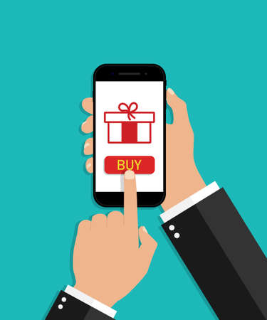 Hand hold smartphone with online gift. Christmas shopping in phone. Surprise icon in mobile digital screen. App with button in internet. Gift box for marketing in holiday. Banner for discount. Vector.