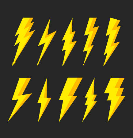 Thunder bolt with flash of lightning. Icons of electric.  Storm and lightning for illustrations. Instant zigzag bolt for shock symbol. Sign of battery, light, voltage. Vector.