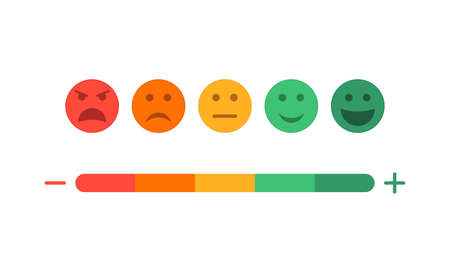Feedback and level of satisfaction of customer. Survey with emoji on scale. Face icons with different mood. Sad and happy experience. Negative or positive emoticons of evaluation from users. Vector. Vectores