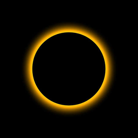 Eclipse solar. Total sun eclipse. Moon planet background. Light on horizon of earth. Concept of astronomy and space. Glow from full circle, ring of sun. Flare, shine on dawn. Mystery sunrise. Vector.