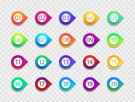 Bullet with number. Icon with point and arrow. List of circles for buttons. Png for infographic from 1 to 20. Set of graphic marker for info, text and promotion. Simple gradient box with pin. Vector. Vectores