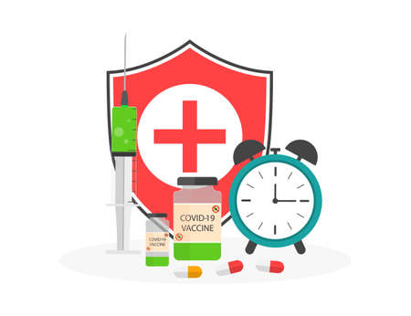 Vaccine with immune shield. Syringe for prevention flu and coronavirus. Time for vaccination and safety. Injection for health in time. Clock for calendar of vaccination. Kid immunization. Vector. Vectores