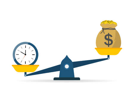 Scale of balance between time and money. Icon of weight and comparison. Seesaw from cost to clock. Equity value of work. Investment finance - income profit. Symbol of measure of success life. Vector.