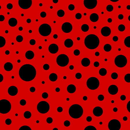 Ladybug seamless pattern. Lady bug background with red and black colors. Ladybird texture for print. Summer, spring fashion in polkadot. Minnie art for decoration, ornament. Abstract backdrop. Vector.