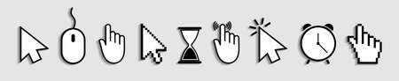 Cursor of mouse with arrow, hand and hourglass. Icons of click for web and computer. Finger of pointer for website. Vectores