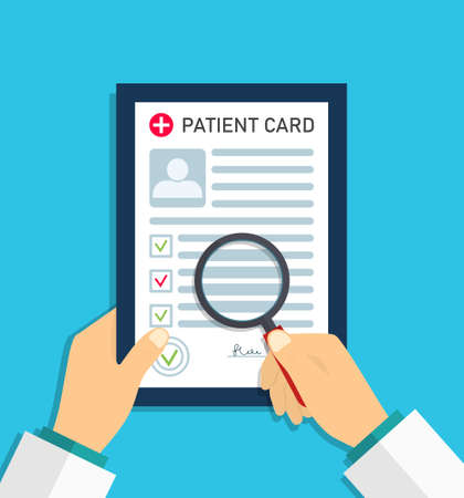 Patient report in medical card. Doctor record in medic form document. Profile of patient on paper sheet. Diagnosis after test of health. Hospital case, medicine research. Clinic prescription. Vector. Vectores