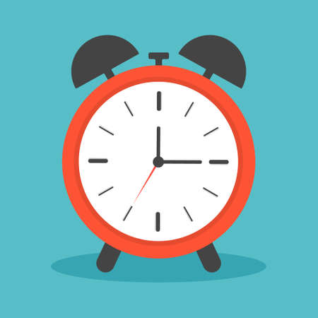 Clock alarm with ring. Icon of time and wake. Watch with shadow for bedroom. Morning deadline with alert. Red clock with face, timer and for bell for school or business in flat style. Vector.