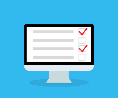 Online survey in computer. List in form quiz. Checklist, questionnaire and poll for web application. Icon for test, feedback, report. Digital pc screen with electronic document. Exam concept. Vector. Vectores