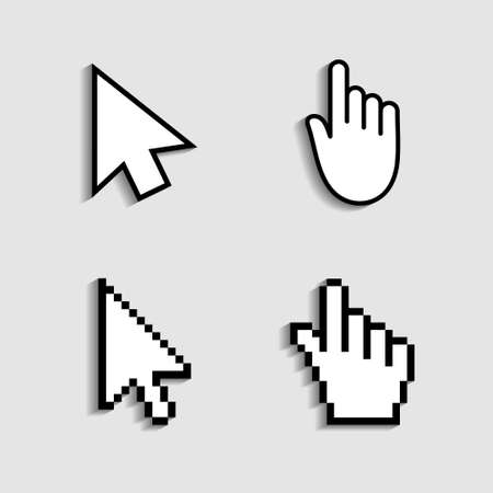 Cursor and hand icon from pixels. Pointer mouse for click. Arrow, finger for web, computer and internet navigation. Digital graphic symbol for link of www. Sign for button on screen of website. Vector