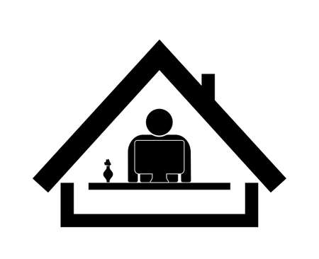 Icon of work at home. Remote office for social distance. Symbol of workspace at home. Coronavirus pandemic - stay at home. Graphic man, desk, computer and house in line style. Safety at work. Vector.