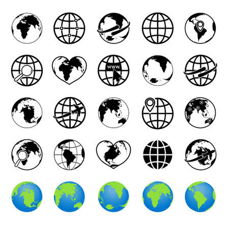 Globe icons. World on sphere. Global earth map. Planets with symbols of internet, arrow and travel on plane. Simple graphic with continents of europe, america, africa, asia and australia. Vector.