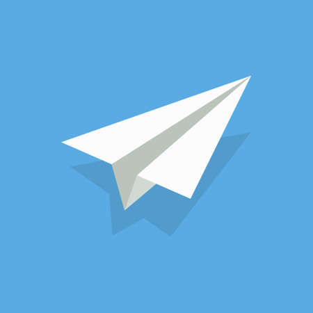 paper airplane. Plane origami. White 3d fly aeroplane on blue background. Craft of origami. Concept of flight, travel.