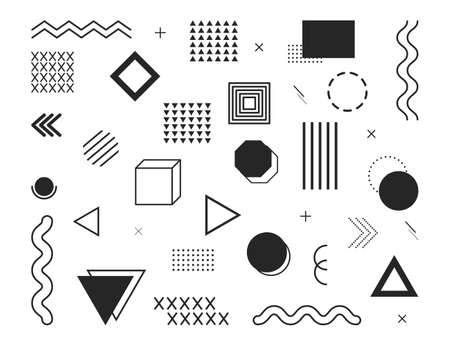 Design element. Geometric shapes. Abstract graphic pattern. Black dot, line, wave, triangle, circle on white background. Memphis wallpaper from 80s, 90s. Modern minimal ornament for notebook. Vector.