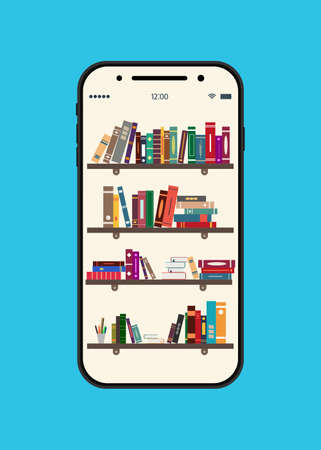 Online book library. Ebook in mobile. Electronic bookstore for education on bookshelf. App in tablet, smartphone for knowledge and study. School elearning with help smart technology for reader. Vector Vectores
