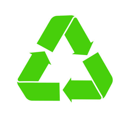 Icon of recycle. Green symbol of reuse. arrow for eco cycle renew of junk. Sign for paper and biodegradable waste. Sticker for care of earth, environmental and ecology. Bio product. Vector.